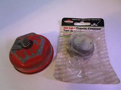 Set Of 2 Vintage Gas Caps Briggs Stratton 5057 Old Red W Gasket For Gas Can