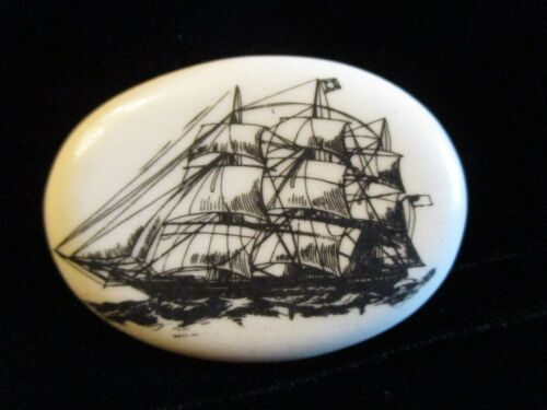 LARGE Vintage STUDIO Clothing BUTTON Signed by SHIRLEY SHAW - Sail SHIP