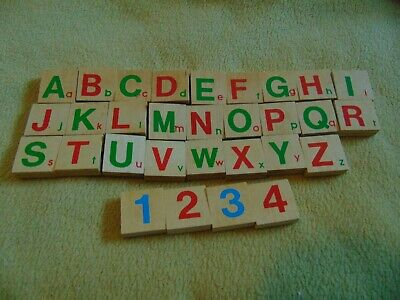 Wooden Alphabet Numbers Tiles Educational Early Learning Toys