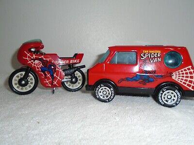 1980 Buddy L Spiderman  Van & Motorcycle