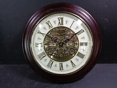 Seiko Dark Wooden Round Westminster Chime Quartz Battery Wall Clock qxm342b