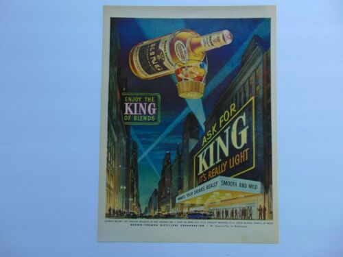 1952 KING BLENDED WHISKEY BROWN FORMAN DISTILLERS vintage art print ad