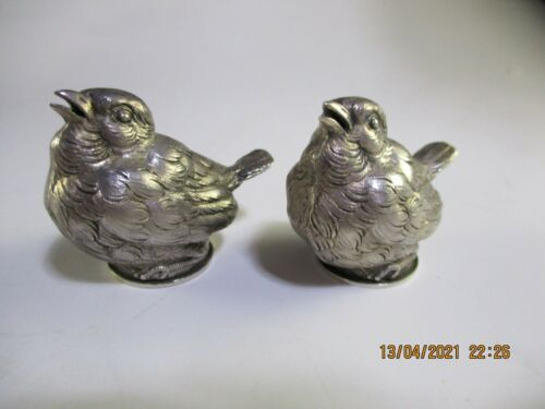 ANTIQUE FRENCH FIGURAL BIRD SALT SHAKERS - 950 SILVER - A VAGUER