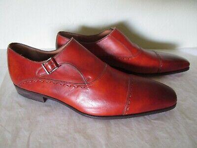 MAGNANNI Neiman Marcus Cap Toe Single Monk Strap Shoe in Conyac Leather Size 13