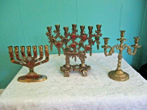 "Vintage Brass Small Menorahs - Lot of Three - Tallest is 6"" X 6"""