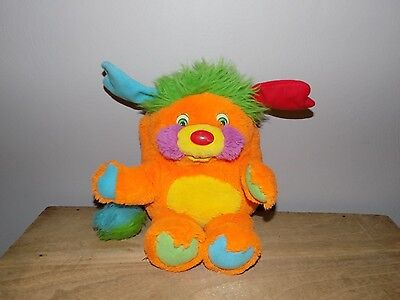 "1986 Popples PUZZLE 12"" Orange Green Plush Mattel Vintage Stuffed Toy 1980's"