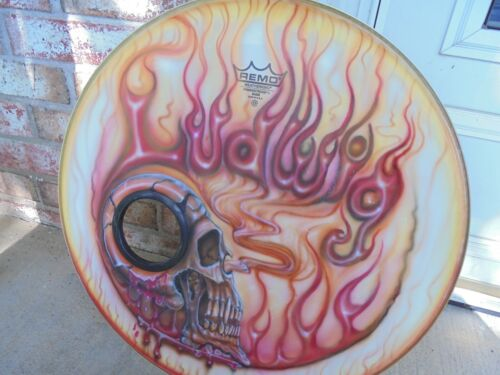 "UNIQUE LUDWIG AIR BRUSHED LOGO BASS HEAD SKULL FLAMES SMOKE 22"" SLIGHTLY USED!"