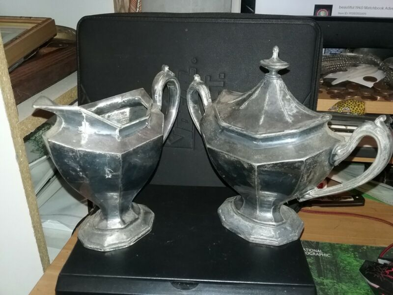 Antique Silver Plated Creamer and Sugar Bowl set Reed & Barton # 3690