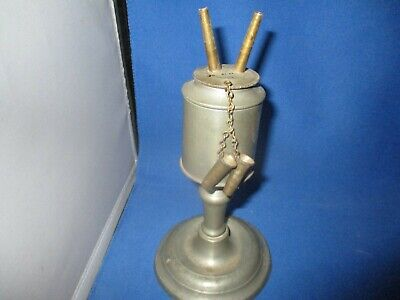 Antique Pewter Double Wick Whale Oil Lamp