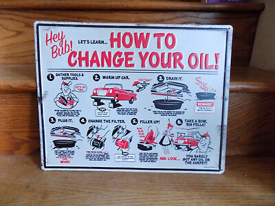 How To Change Your Oil Metal Sign Garage Vintage Style Gas Oil Man Cave Bar
