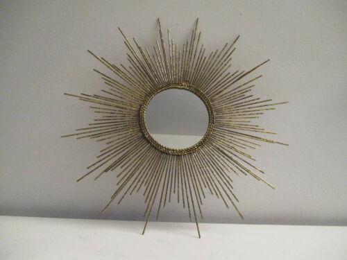 Mid-century Modern Style Gold Metal Sunburst Starburst Wall Sculpture Mirror