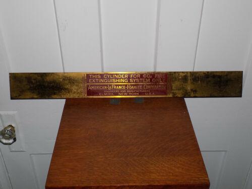 American La France Brass Fire Extinguisher Cylinder Sign Elmira, NY