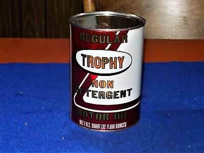 Vintage, TROPHY., metal, FULL, MINT, 1 quart oil can, (NOS), oil can
