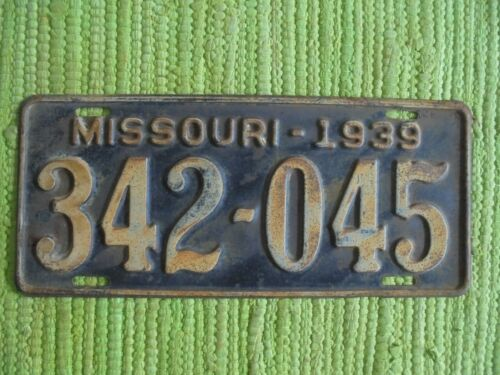 1939 Missouri License Plate MO 39 Tag 342-045