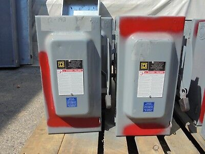 SQUARE D D323N, SERIES F, 100 AMP 3Ø 240 VOLT FUSED DISCONNECT- PAINTED RED (Fuse Disconnect)