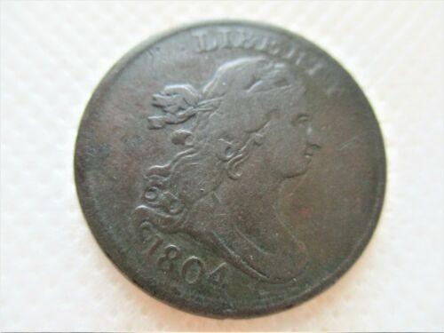 1804 DRAPED BUST PLAIN STEMLESS  HALF CENT COIN Fine