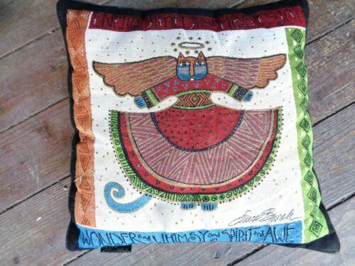 Vintage Laurel Burch Angel Cat Tapestry Square Pillow Enchantment Wonder Joy