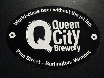 QUEEN CITY BREWERY Burlington Vermont black ova STICKER decal craft beer brewing - Burlington City