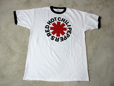 Adult Ringer - NEW Red Hot Chili Peppers Concert Shirt Adult Extra Large White Ringer Rock Mens