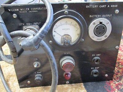 Vintage William Miller Corp A4948 Battery Test Cart 0 -3 Amp Dc 117v 60 Hz