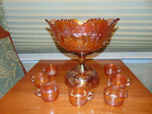 "Dugan Deep Marigold Carnival Glass ""Many Fruits"" Large Punch Bowl & Cups Pretty!"
