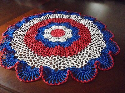 NEW Hand Crochet Doily Table Centerpiece Patriotic Red White Blue Large Size 18""