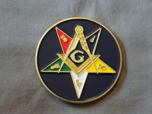 "Masonic 3"" Car Emblem Master Mason Square Compass Metal Freemason NEW!"