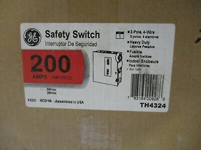 Ge Th4324 Model 10 200 Amp 240 Volt 3 Pole 4 Wire Fusible Disconnect- New