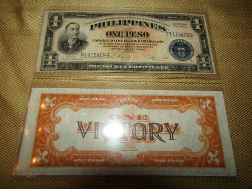 2 1944 1 ONE SILVER PESO PHILIPPINES CURRENCY VICTORY BANKNOTE NOTE WWII