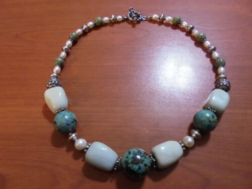 """Vtg Sterling silver turquoise larimar real white pearl necklace 17"""" 74.0 grams"""