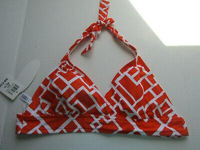 Banded Halter Swim (Sunsets Bikini Banded Halter Swim Top only Orange White Print Size DD NEW )
