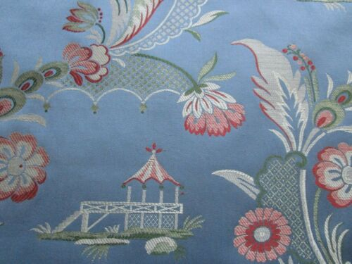 Blue Green Red Chinoiserie Asian Print Decorators Upholstery Fabric BTYARD