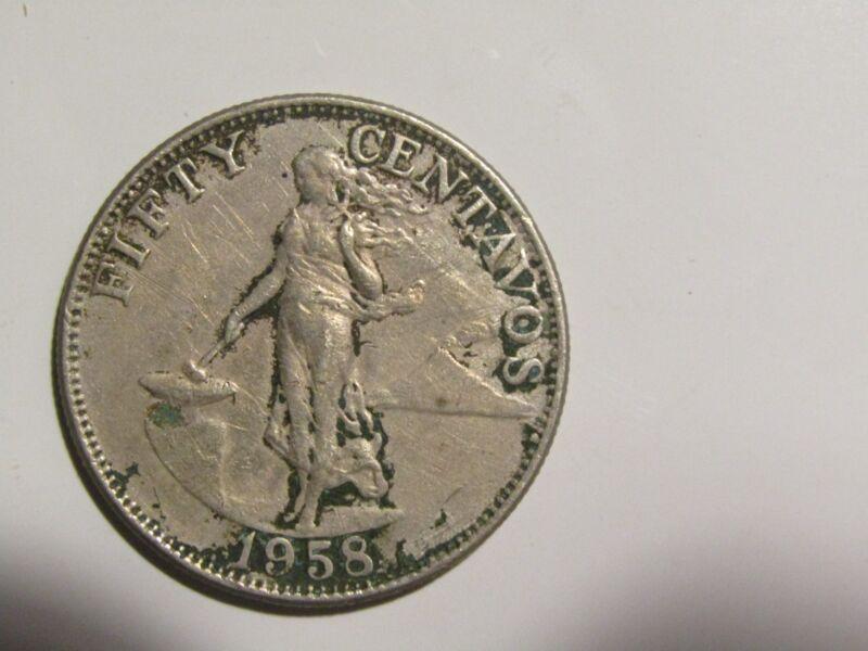Philippines 1958 50 Centavos Coin