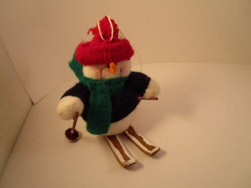 Adorable Yarn Plush Snowman on Skis Skier Christmas Ornament
