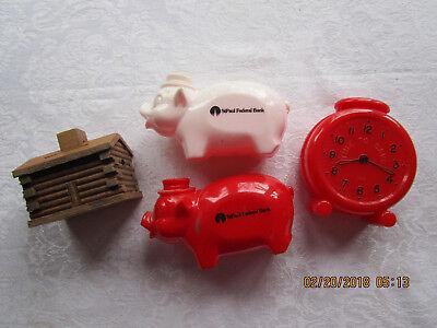 Vintage lot of 4 Piggy Banks 2 Pigs, Clock and Wooden Log Cabin-St. Paul Federal (Wooden Piggy Banks)