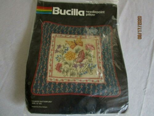 """Bucilla COUNTRY BUTTERFLIES Needlepoint Kit 4603 Picture Pillow 12"""", SEALED"""