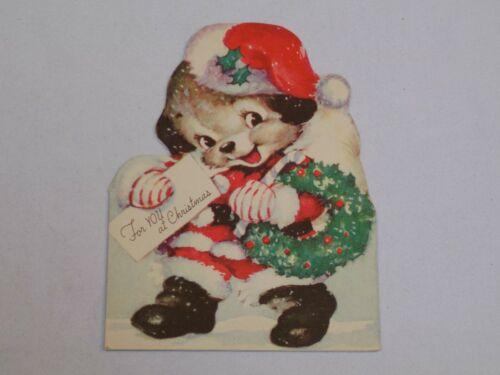 Christmas Greeting Card Old Vintage Rust Craft 1943 Santa Claus Dog Puppy USA
