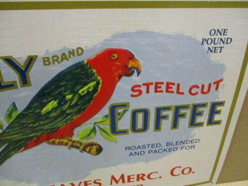 POLLY COFFEE - LINCOLN NEBRASKA - BIG TIN SIGN -Shows Red Green Bird -LOOKS GOOD