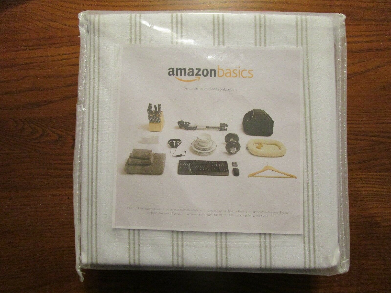AmazonBasics Microfiber Sheet Set - Twin, Grey Stripe