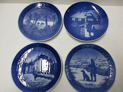 4 Delft Blue Christmas Plates Royal Copenhagen and B&G 1972, '73, '75, '77