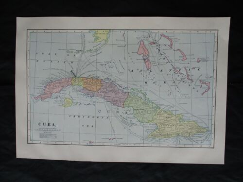 1899 Spanish American War Lithograph Map of Cuba & Surrounding Vicinity