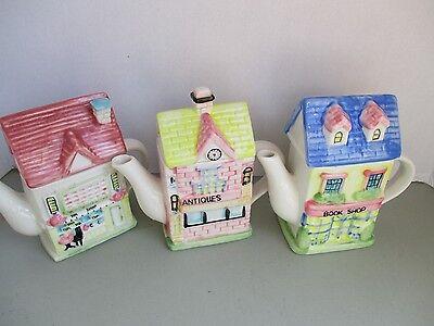 THREE House-Shaped Decorative Teapots---Antique Shop, Tea Shop, & Book Shop
