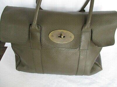 Mulberry Bayswater Mole Grey Gray Large Heritage Pebbled Grain Leather Handbag!