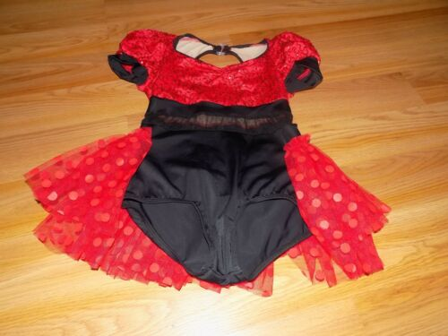 Child Size Medium Weissman Black Red Sequined Dance Tutu Leotard Costume EUC