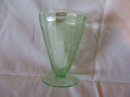 Vintage Green Depression Glass Poinsetta Pattern Tumbler/glass