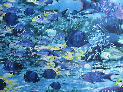 - ANGEL FISH CORAL TROPICAL OCEAN FISH BLUE YELLOW COTTON FABRIC BTHY