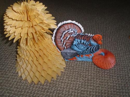 Vintage Thanksgiving Turkey Haystack 18 by 12 Paper Die Cut Honeycomb Decoration