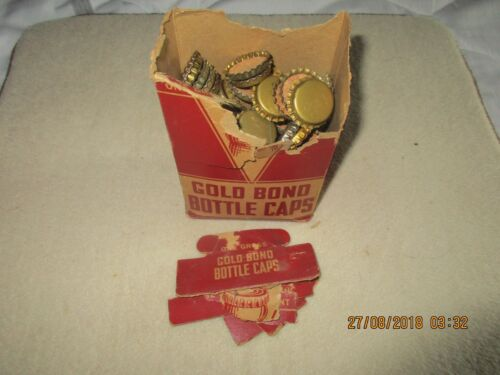 Vintage Gold Bond  Bottle Caps Box / 100+ plain caps