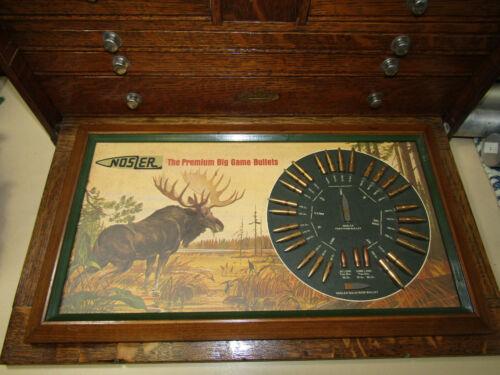 Vintage Nosler Display Big Game Bullet Board Advertising Illustrated Ghiglieri
