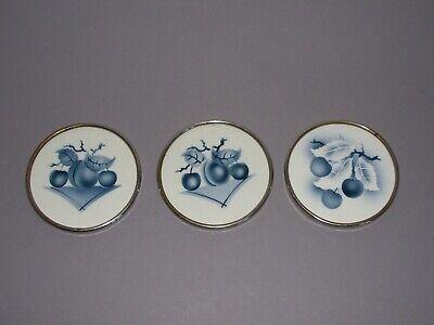 3 Untersetzer Keramik Metallrand Krautzberger Teplitz Art deco